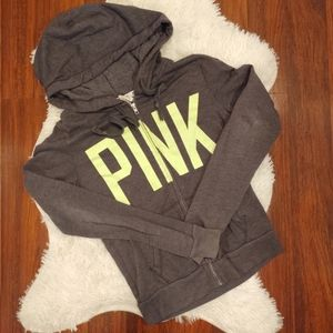 PINK Hoodie Zip Up Gray and Lime Green